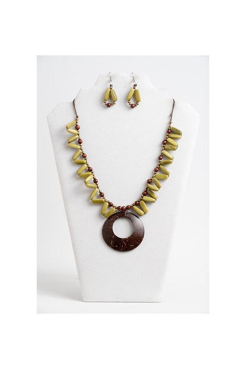 olive tagua & coconut necklace set