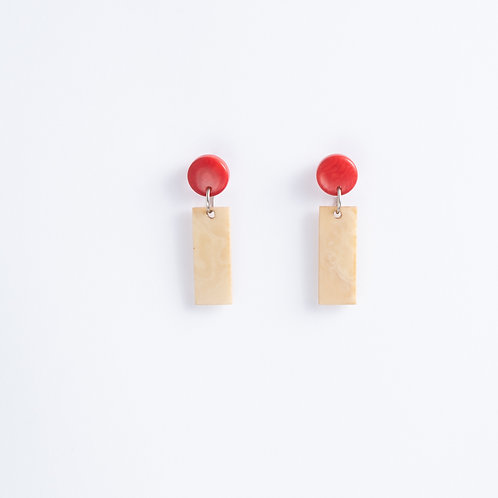 Limited Edition Tagua Earrings   Ivory/Red