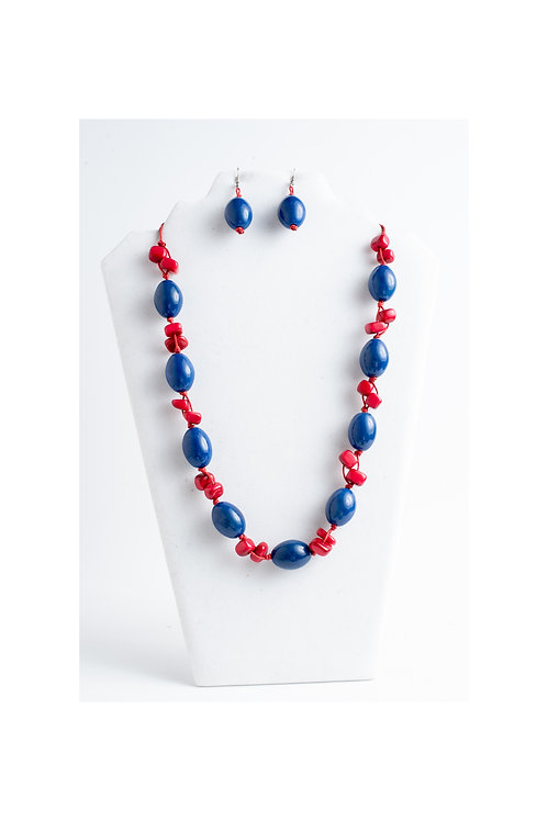 Red & Navy Long Tagua Necklace Earrings