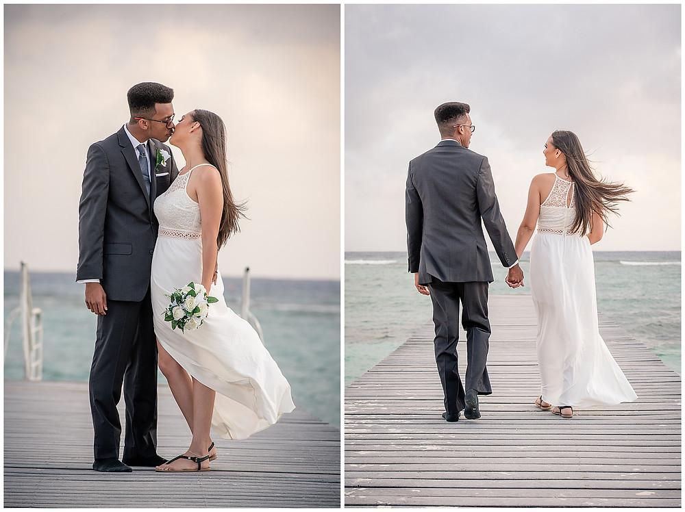 Marshanni and Jerome Cayman Wedding Photography - Walking on Spott's Public Beach Dock