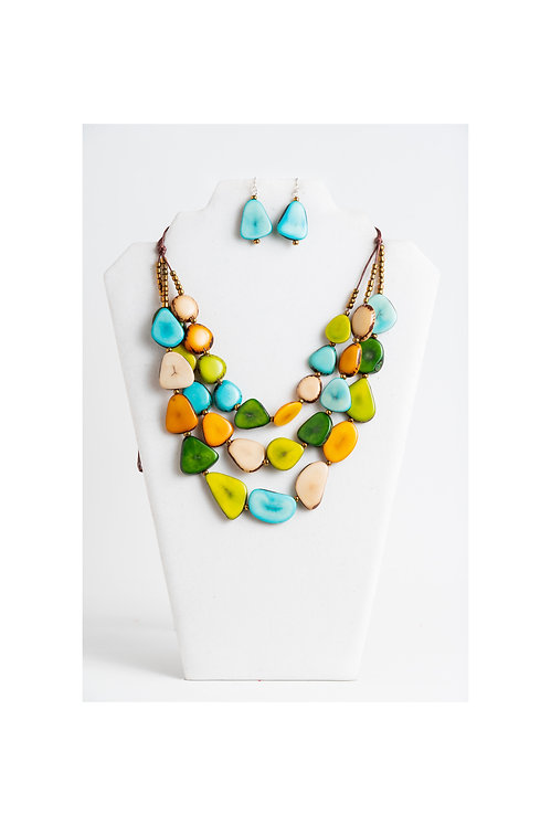 multicolored tagua necklace set