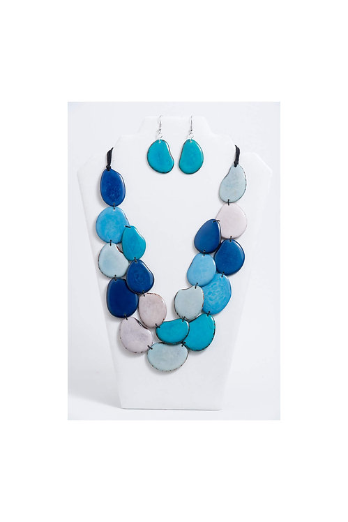 tones of blue tagua necklace and earring