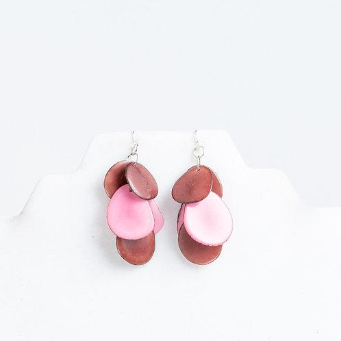 pink & brown handmade earrings