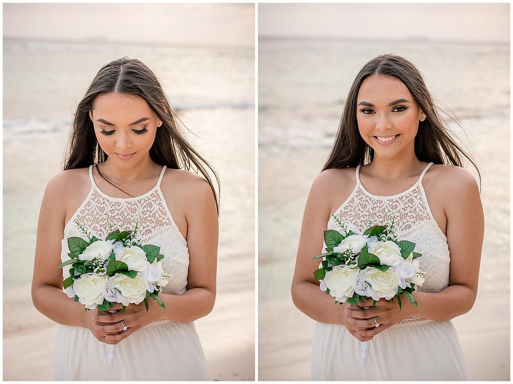Marshanni and Jerome Cayman Wedding Photography - Bride at Spott's Public Beach