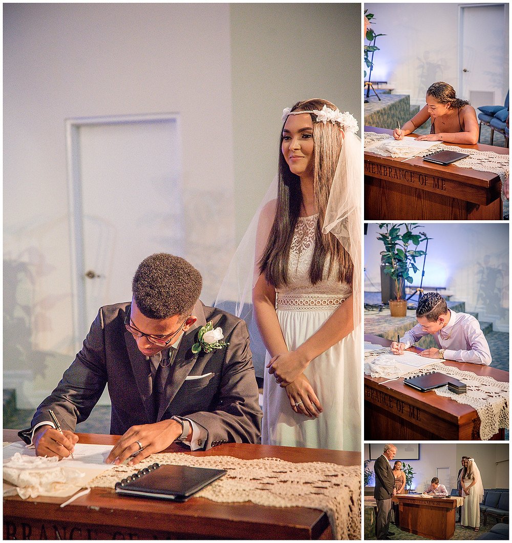 Marshanni and Jerome Cayman Wedding Photography - groom and witnesses signing marriage license