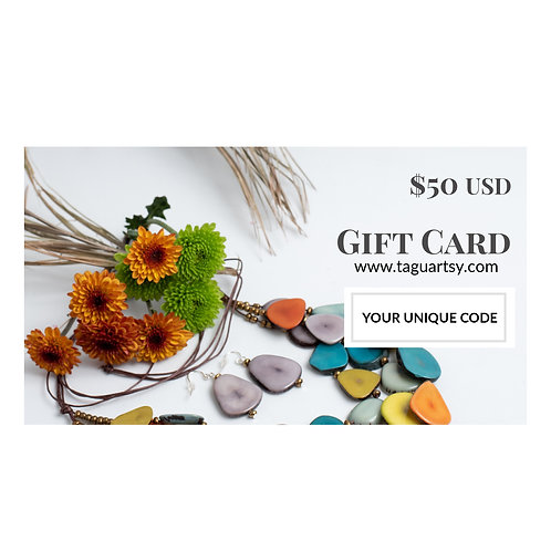 $50 gift card handmade jewelry