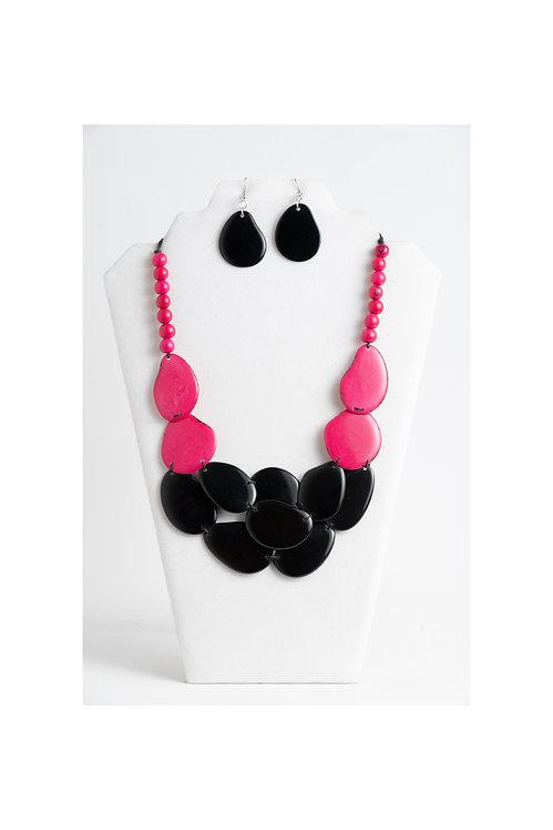 Fuchsia & Black Tagua Necklace