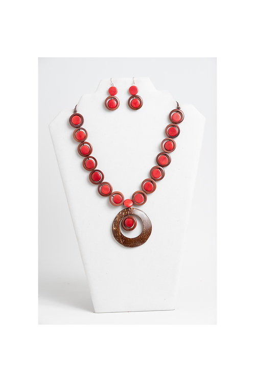 Kayla Tagua-Coco Necklace Set | Red