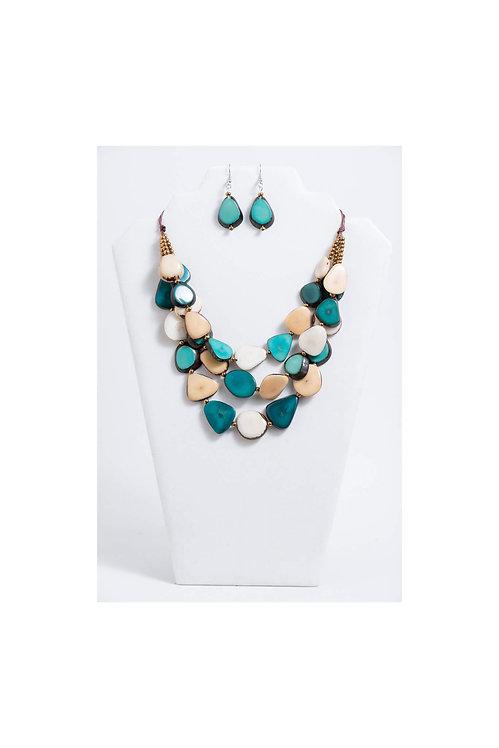 Zaley Necklace Set | Turquoise & Ivory