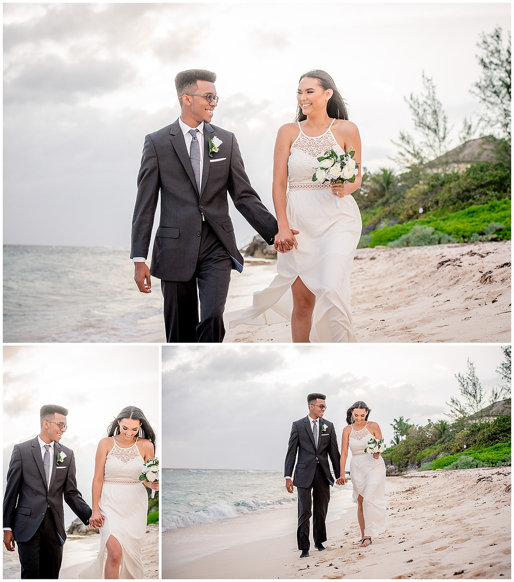 Marshanni and Jerome Cayman Wedding Photography - Walking on Spott's Beach