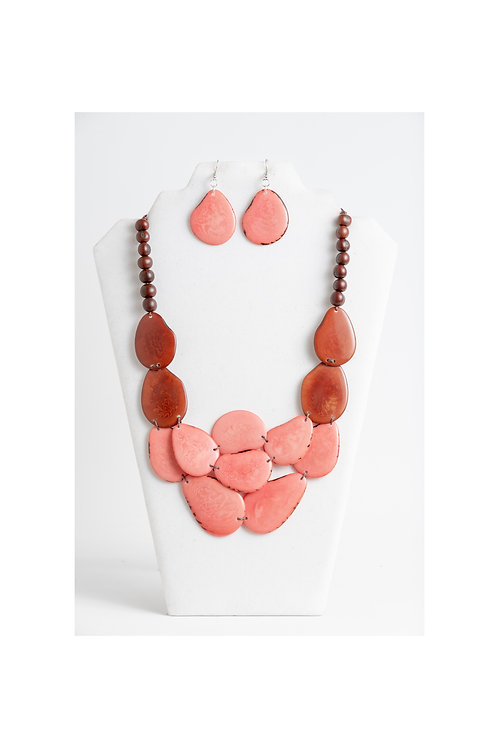 peach and brown handmade necklace set