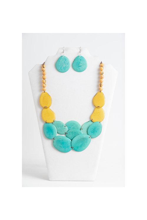 turquoise yellow handmade necklace