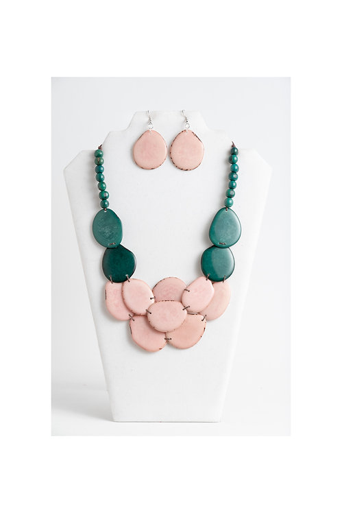 green & pink tagua necklace set