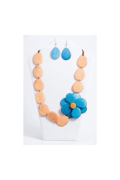 Zoe Necklace | Peach & Blue