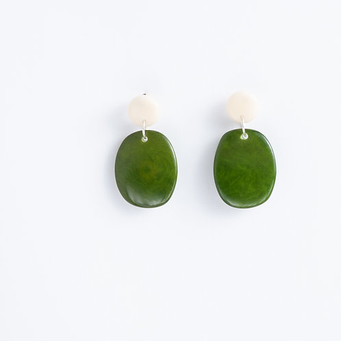 Limited Edition Tagua Earrings | Green/Ivory