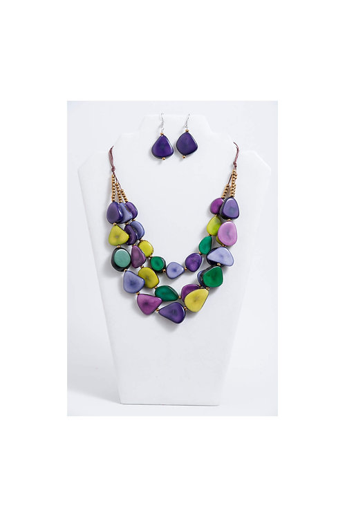 spring tones tagua necklace and earrings