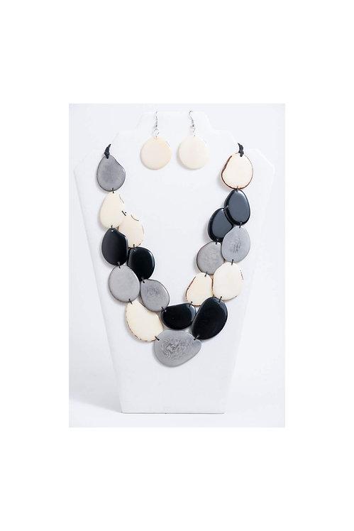 Amoya Necklace Set | Black, Gray, Ivory