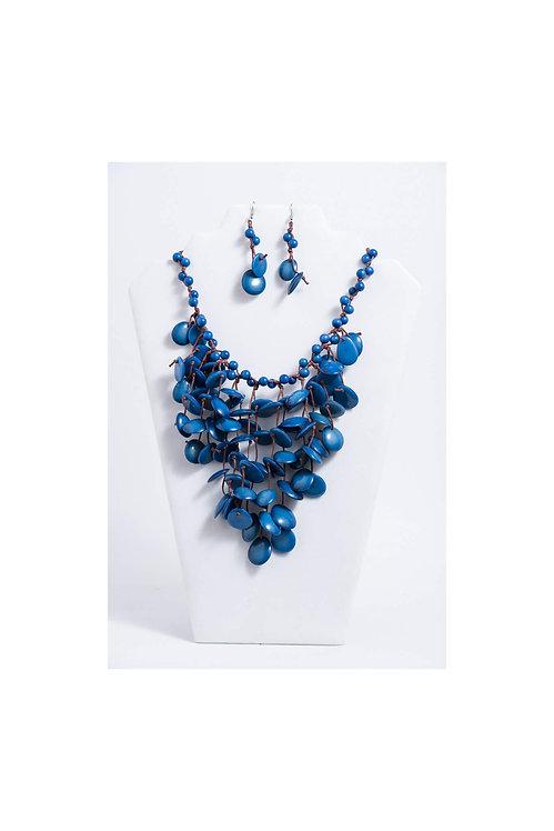 Ena Tagua Necklace Set | Navy