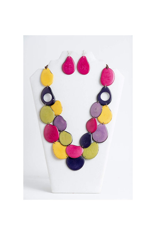 multicolored tagua necklace and earrings