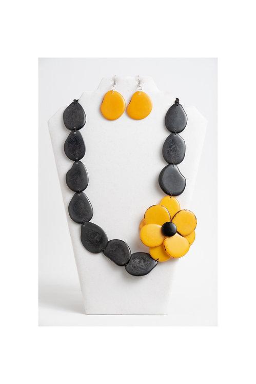 yellow & dark gray flower tagua necklace set