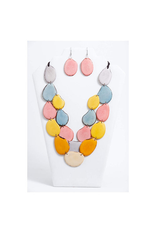 multicolores 2 stranded tagua necklace set