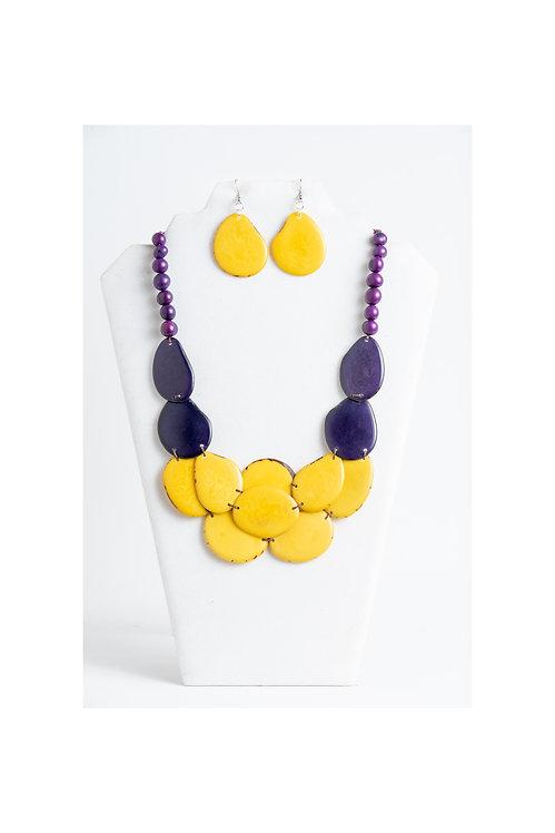 yellow & purple tagua necklce set