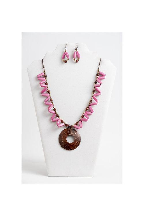 Cari Tagua-Coco Necklace Set   Pink