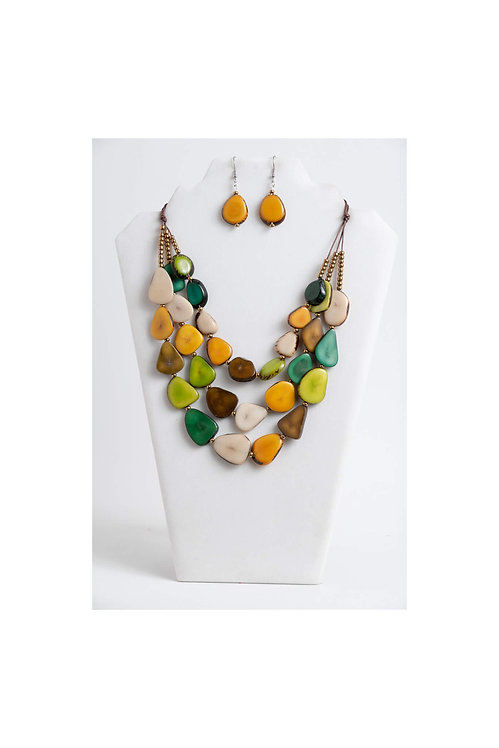 Zaley Necklace Set | Turquoise, Green, Yellow