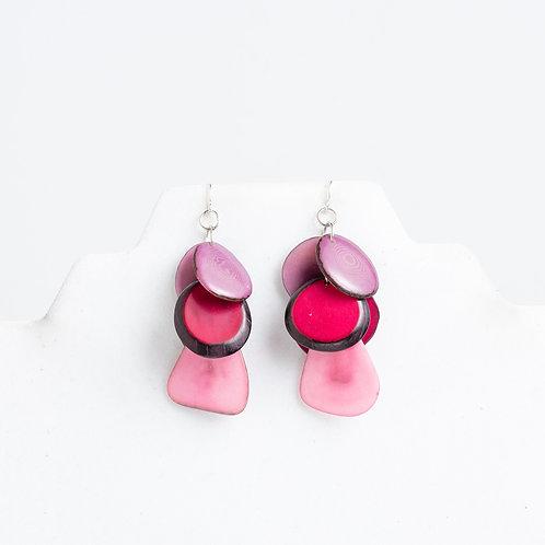 Pink tagua earrings