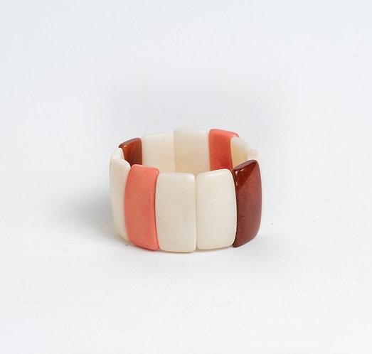 Maggie Tagua Bracelet | Ivory, Brown & Peach