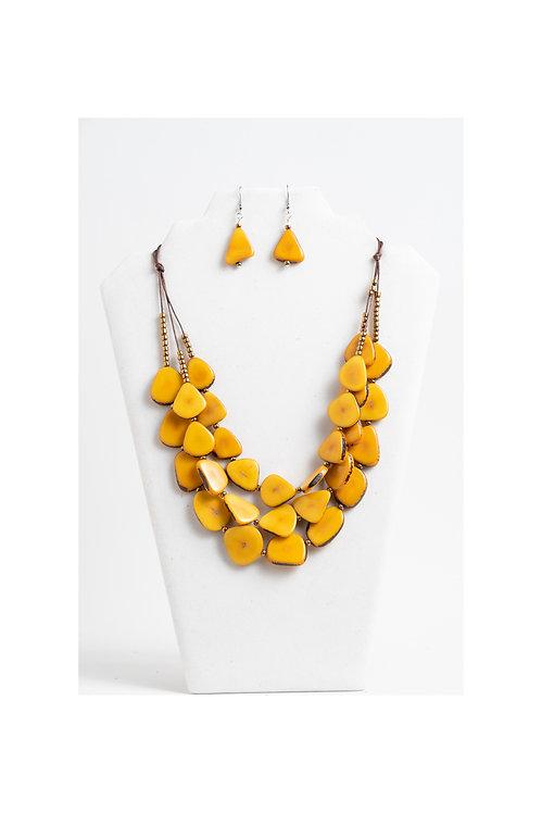 yellow handmade necklace set