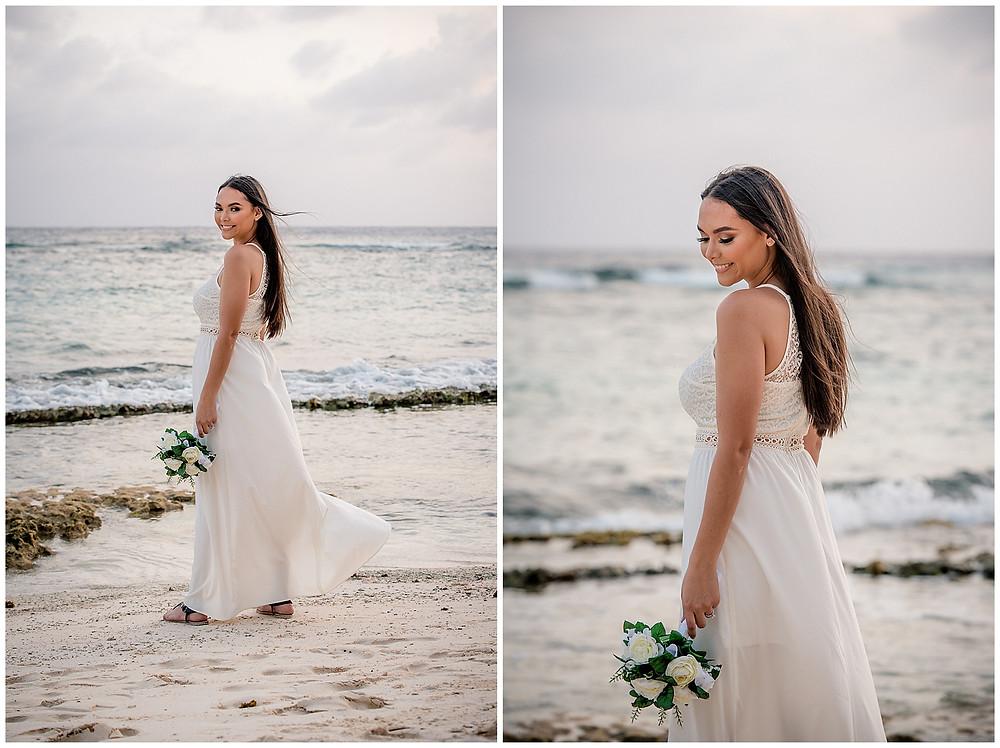 Marshanni and Jerome Grand Cayman Wedding Photography - Beautiful bride at Spott's Public Beach