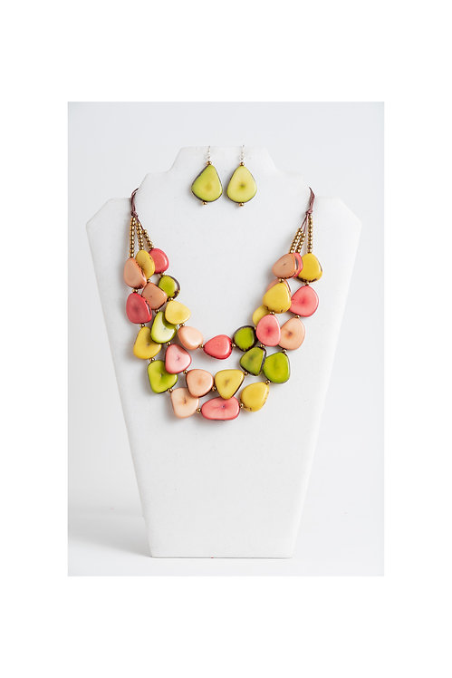 yellow, pink green tagua necklace set