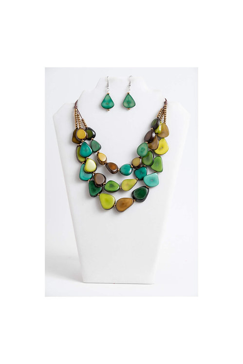 Zaley Tagua Necklace   Tones of Green