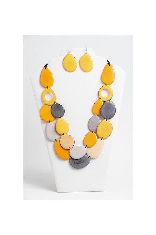 Yellow Gray Tagua Necklace & Yellow Earring