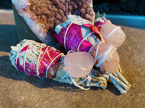 Rose Bundle White Sage with Calming Rose Quartz Love