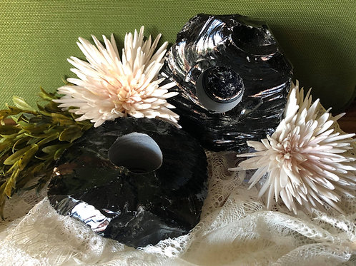 Raw Black Onyx Candle Holder for Powerful Magical Protection
