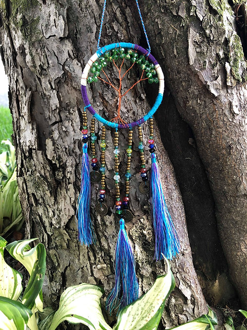 Purple Blue Bead Bohemian Dreamcatcher