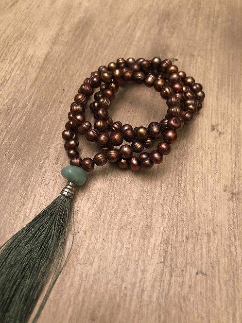 Bronze and Green Aventurine Mala Bead Necklace