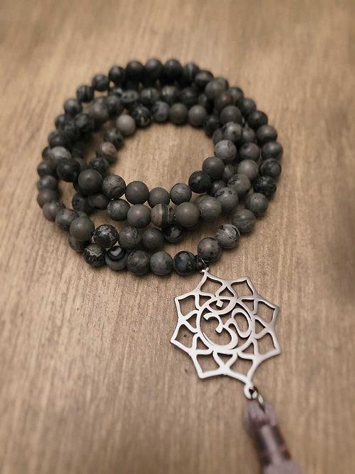Grey Japer Mala Bead Necklace