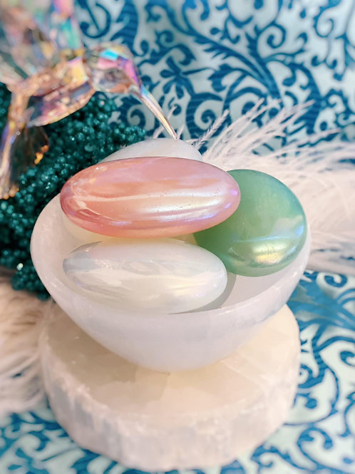 Aura Quartz Palm Stones for Whimsical Energy.& Inner Joy