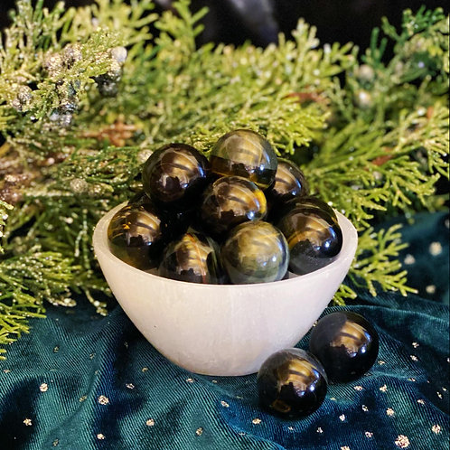 High Sheen Blue Tigers Eye Spheres for Aiding Depression & Gaining Wealth
