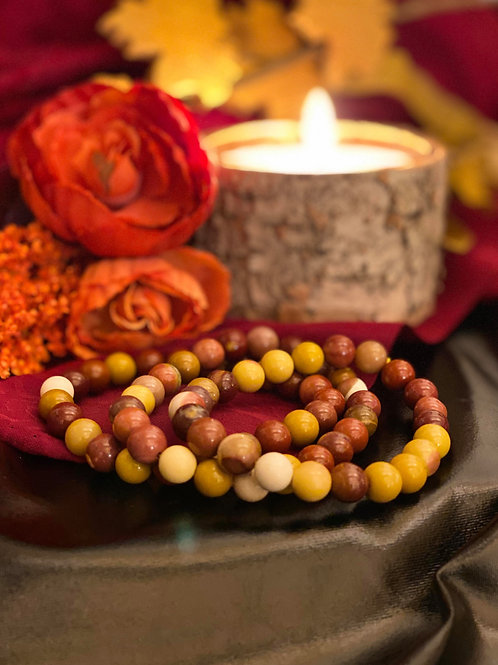 Mookaite Jasper Bead Bracelet for Mindfulness & Beauty