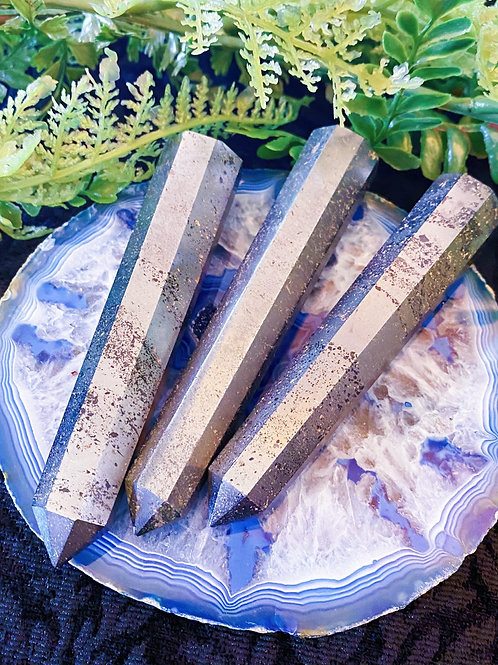 Hematite Pillar Wands for Grounding During Turbulent Times