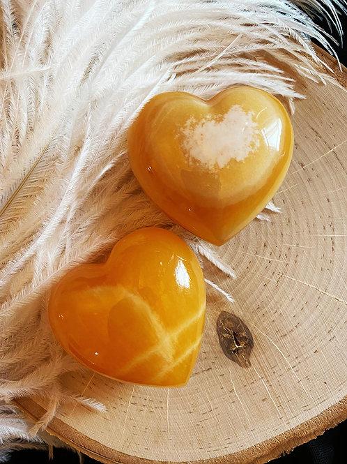 Orange Honey Calcite Heart for a Sunny Positive Energy Hug of Love