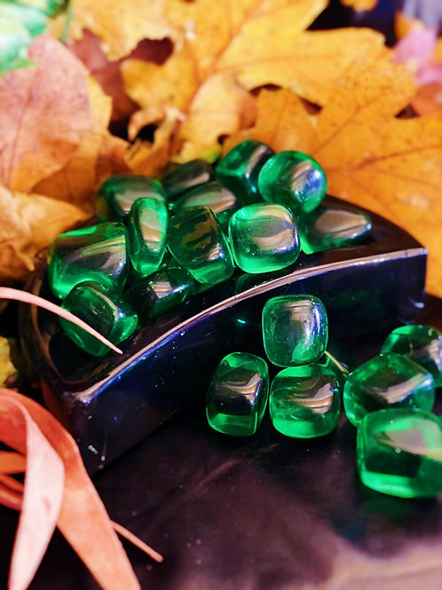 Green Glass Tumbles for Color Therapy of the Heart