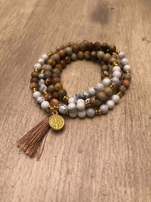 Howlite & Picture Jasper Mala Bracelet / Necklace