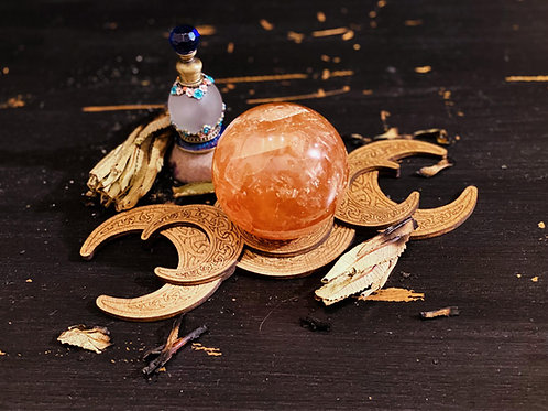 Triple Moon Sphere Cradle with DM Galactic Moon Goddess Perfume