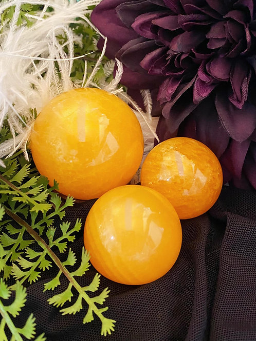 Honey Calcite Spheres for Powerful Cleansing & Boosting Energy