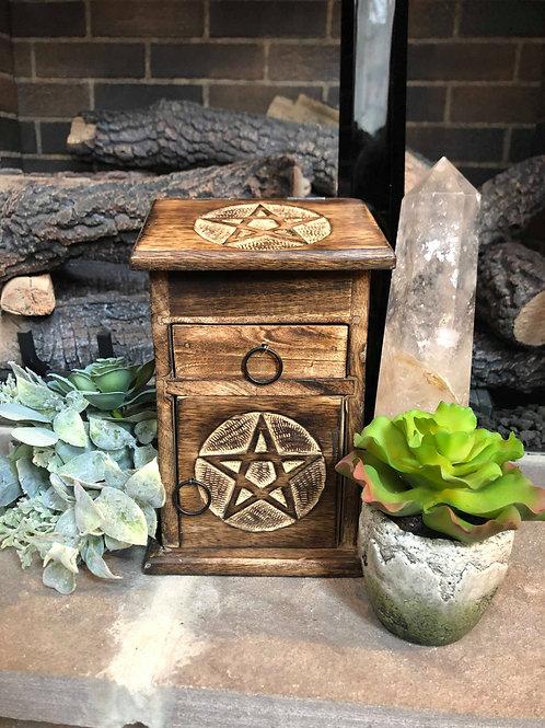 Carved Star Wooden Herb & Crystal Storage Box for Altaric Work & Sacred Ceremony